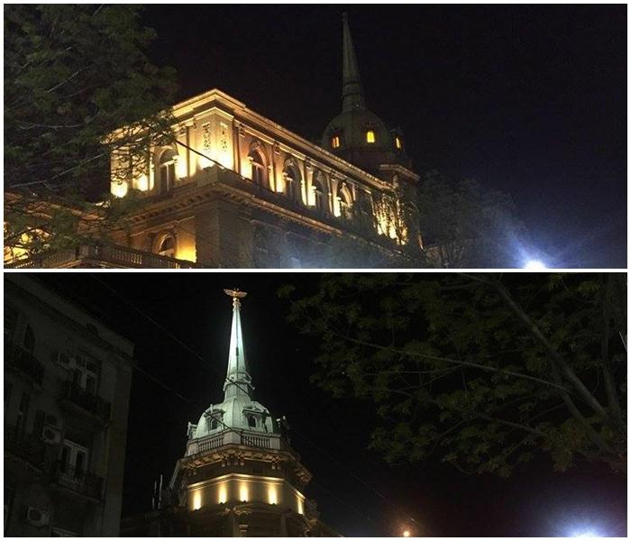 Купола Председништва у мраку (слика горе), Купола градске скупштине за пример (слика доле) Фото: Београдске.рс